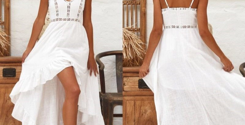 White Boho Embroidered Swallow Tail Dress