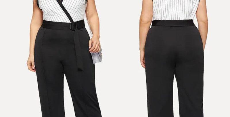 Black & White Stripe Sleeveless Belt Jumpsuit Playsuit