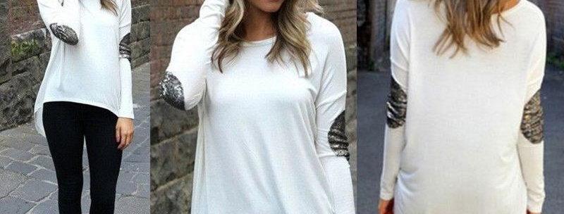 White Asymmetrical Casual Blouse Top w Glitter Sleeves
