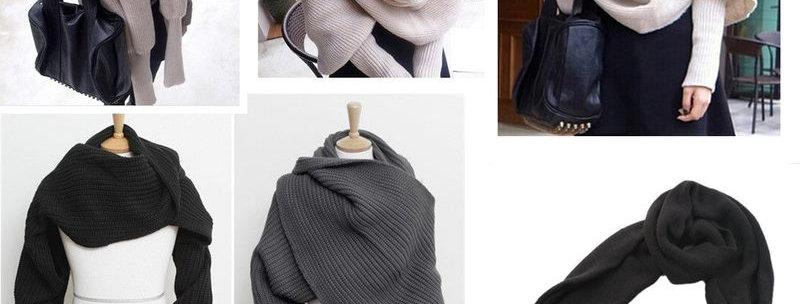 Black Knitted Wrap around Scarf
