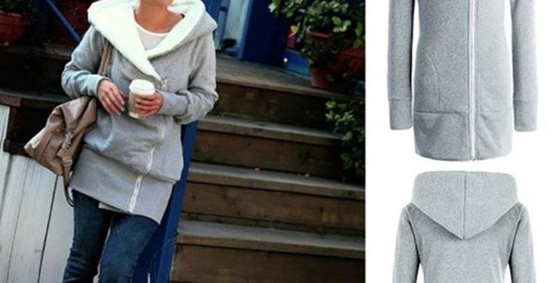 Fashion Grey Side Zip Hoodie Jacket