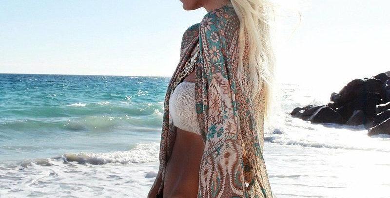 Boho Loose Blouse Chiffon Kimono