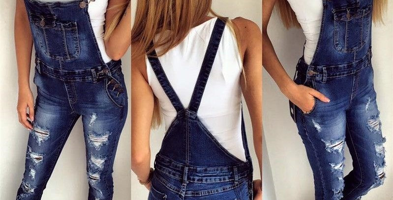 Distressed Rip Style Boutique Jumpsuit