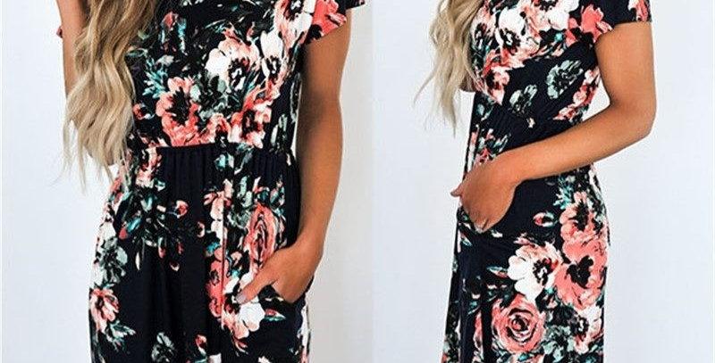 Black Blossom Floral Boutique Long Party Dress