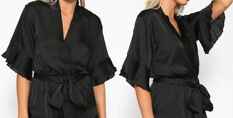 Black Satin Ruffle Edge Boutique Jumpsuit