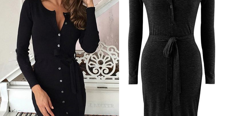 Waist Bodycon Casual Office Party Dress
