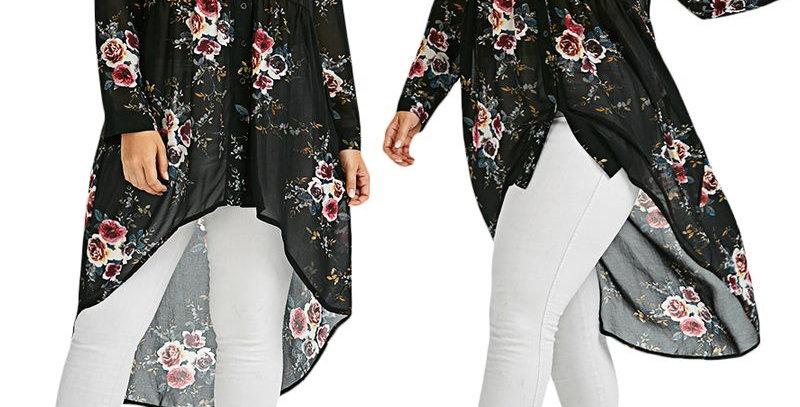 Blue Floral Asymmetrical Drop Tail High Shirt