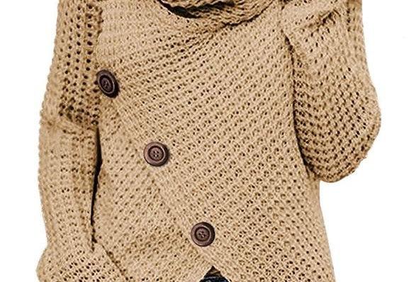 Khaki Asymmetric Wrap Sweater