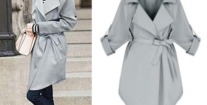 Grey Waterfall Cropped Sleeve Trench Coat