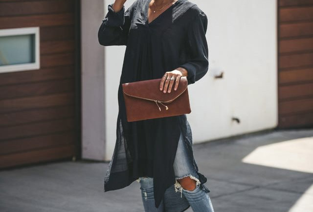 Fashion Black V Neck Cotton Tunic Kaftan.