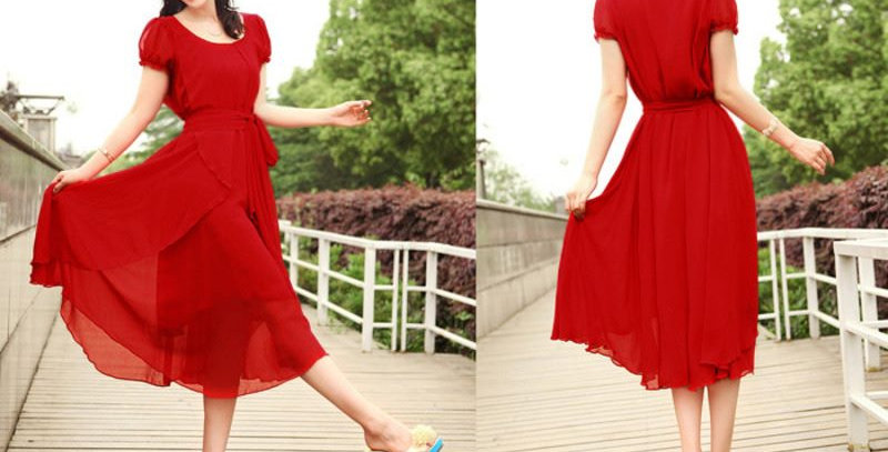 Hot Red Empire Waist Layered Chiffon Party Long Dress