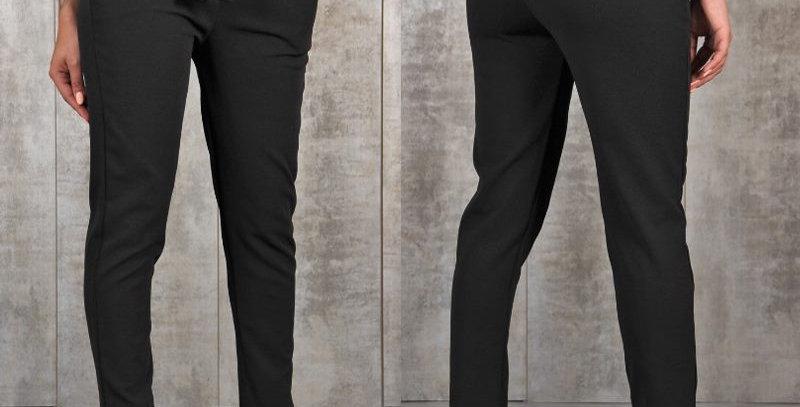 Black Ruffle High Waist Skinny Leg Cropped Pants