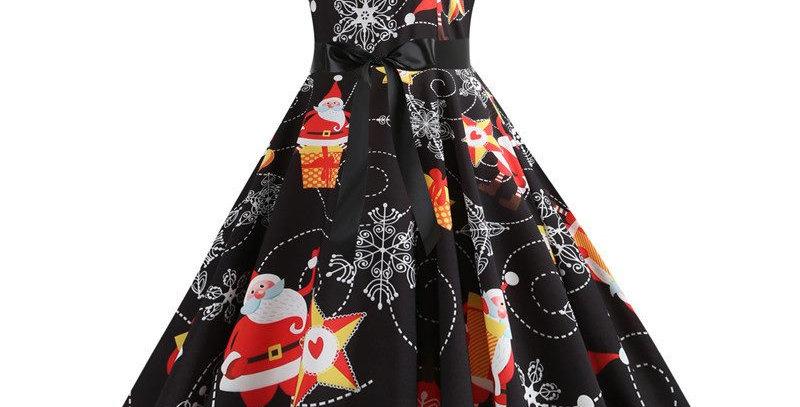 Black Festival Christmas Theme Flared Party Midi Dress