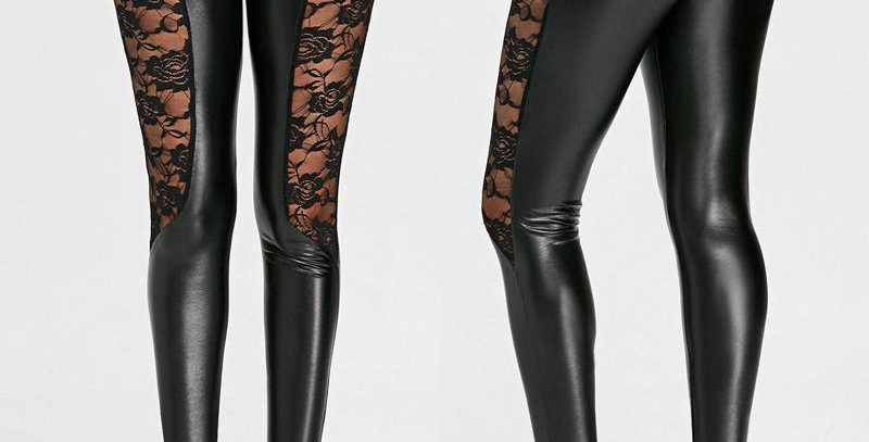 Black Metallic Wet Look Shiny Faux Patent Leather Tights