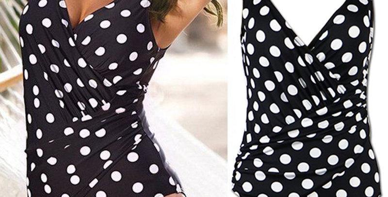 Black Polka Dot Padded Open Back Bikini Set
