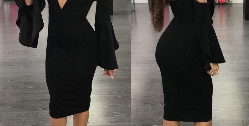 Black Plunge Off Shoulder Boutique Party Cocktail Dress