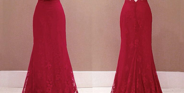 Red Lace Open Back Party Gown