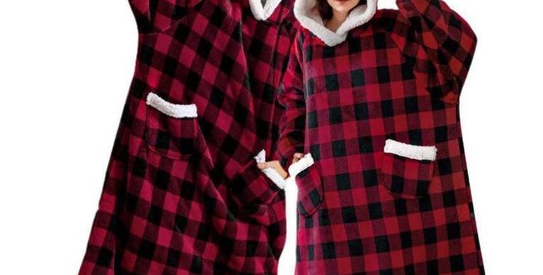 Gingham Plush Blanket Hoodie: Free Delivery