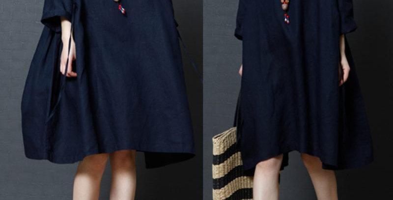 Navy Blue Cotton Linen Flared Tunic Dress