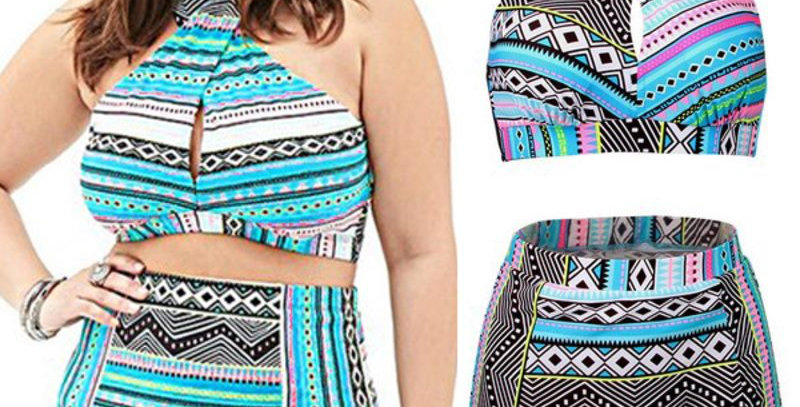 Retro Blue Aztec Pattern High Waist Bikini Set