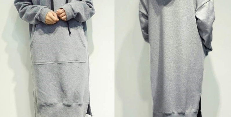 Long Grey Sweatshirt Dress Hoodies