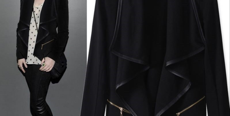 Black Open Front Trench Duster Coat