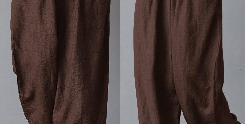 Brown Elastic Waist Relaxed Linen Baggy Trousers