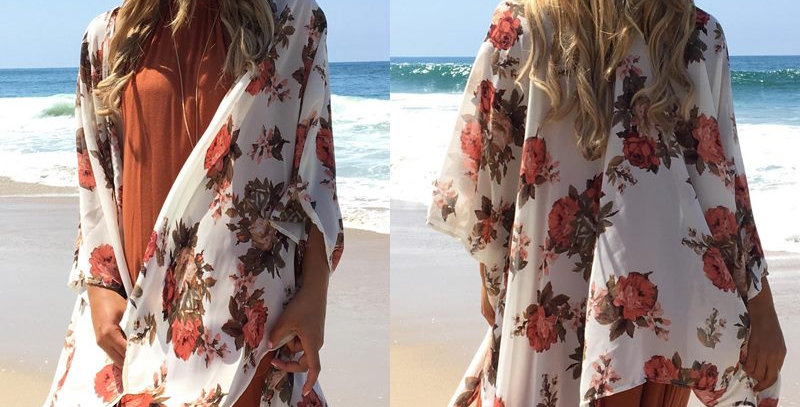 Floral Boho Relaxed Open Cover Up Kimono