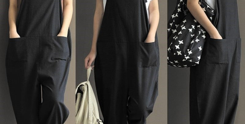Plus Size Fashion Black Cotton Linen Jumpsuit