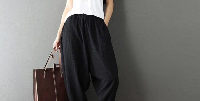 Black Cotton Baggy Harem Trousers