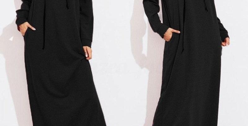 Black Casual Hoodie Long Jumper Dress