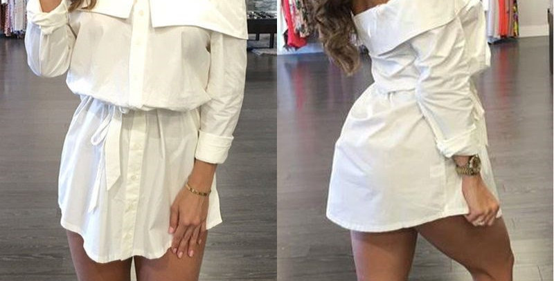 White Boyfriend Off Shoulder Mini Dress