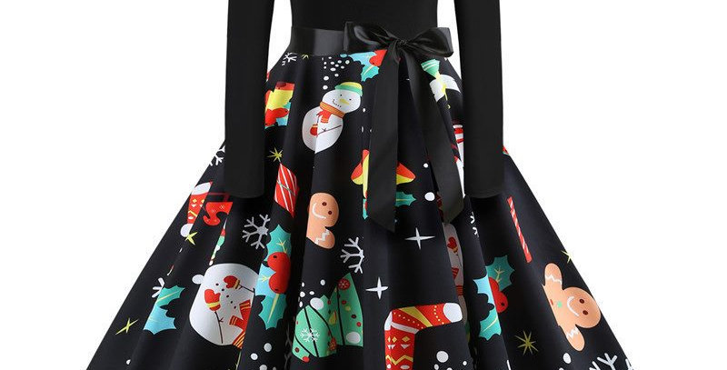 Black Festival Christmas Theme Flared Midi Party Dress