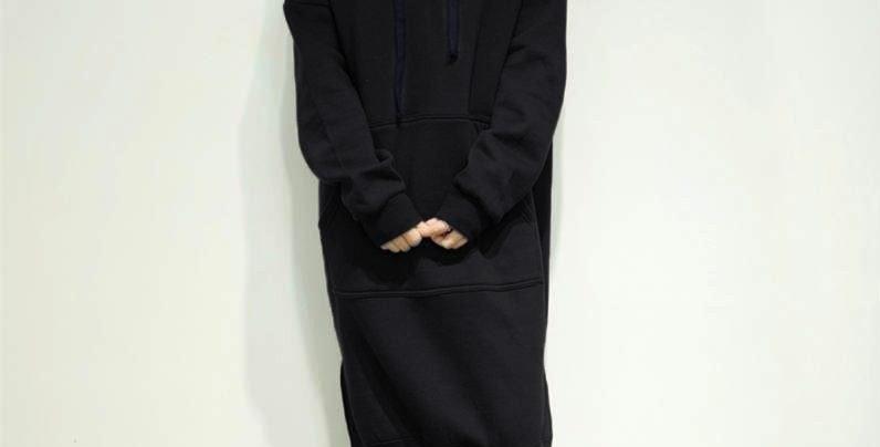 Black Oversized Fleece Long Hoodie Sweatshirt