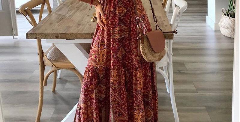 Red Boho Floral Print Plunge Sleeveless Dress