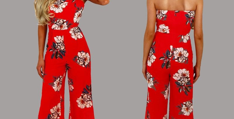 Hot Red Floral Strapless Casual Jumpsuit