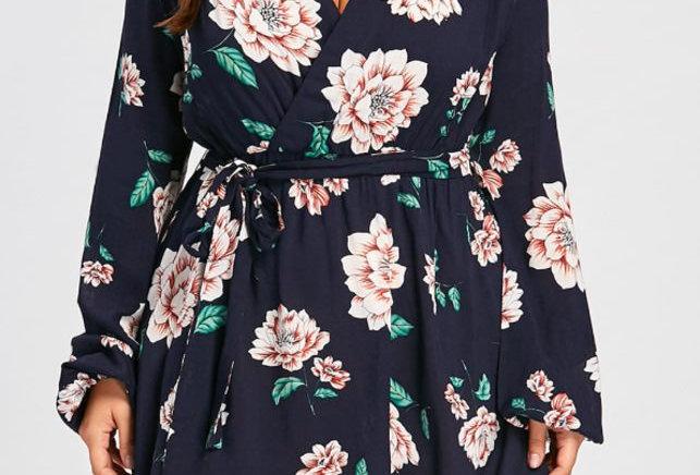 Blue Blossom Floral Plunge Boutique Mini Party Dress