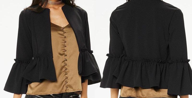 BLK Ruffle Frill Sleeve Casual Open Jacket