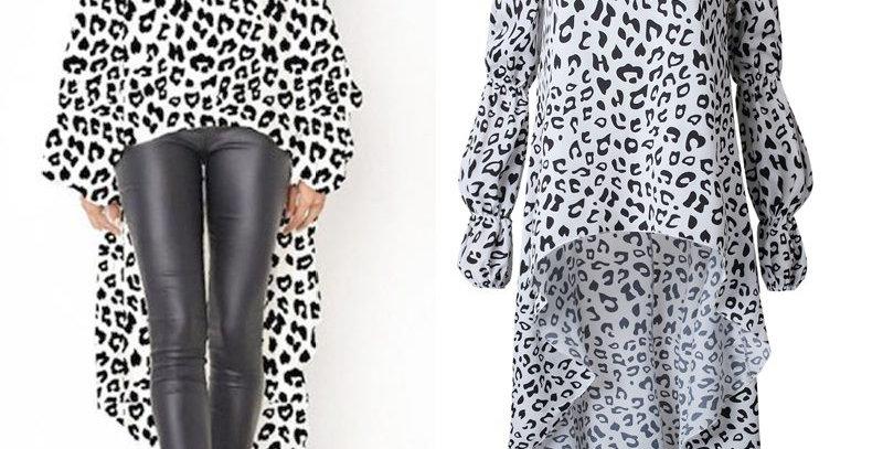 Smart White Leopard Swallow Tail Dress Top