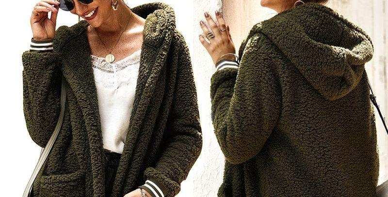 Hoodie Coat Jacket Fur Womens