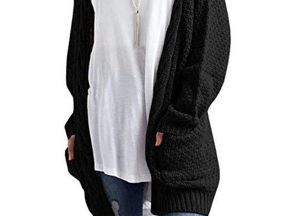 Twisted Cable Open Front Knitted Sweater