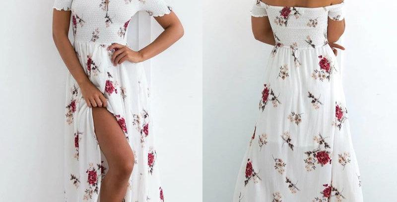 White Blossom Floral Off Shoulder Boutique  Dress