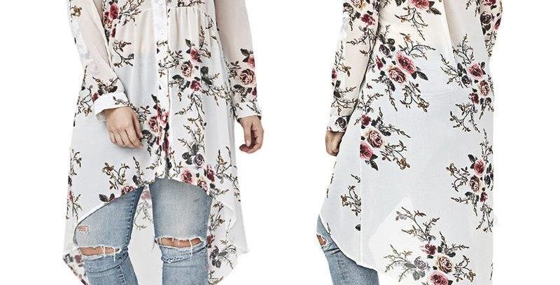 White Floral Asymmetrical Drop Tail Shirt