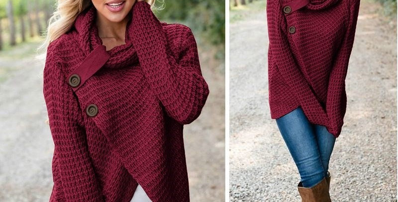 Red Asymmetric Wrap Style Knitted Poncho