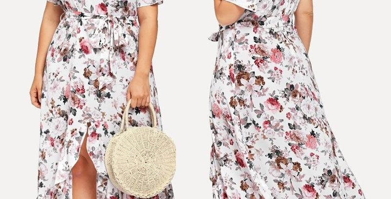 White Blossom Floral Ruffle Asymmetrical Bohemia Dress