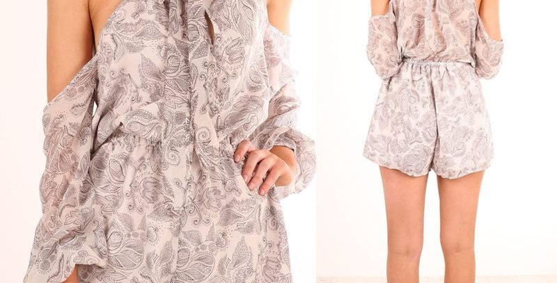 Retro Floral Cold Shoulder Boutique Jumpsuit