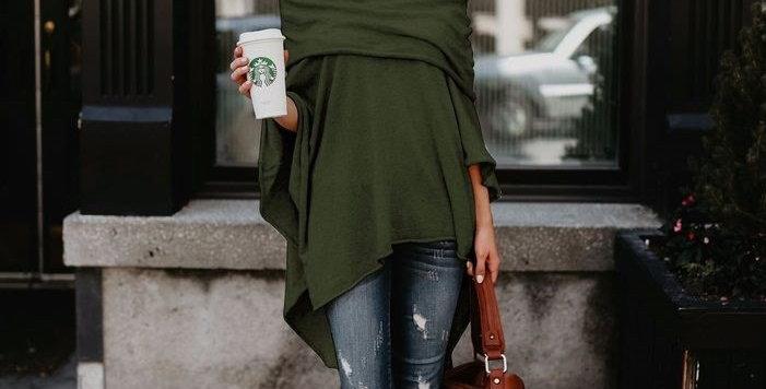 Green Off Shoulder Asymmetrical Poncho