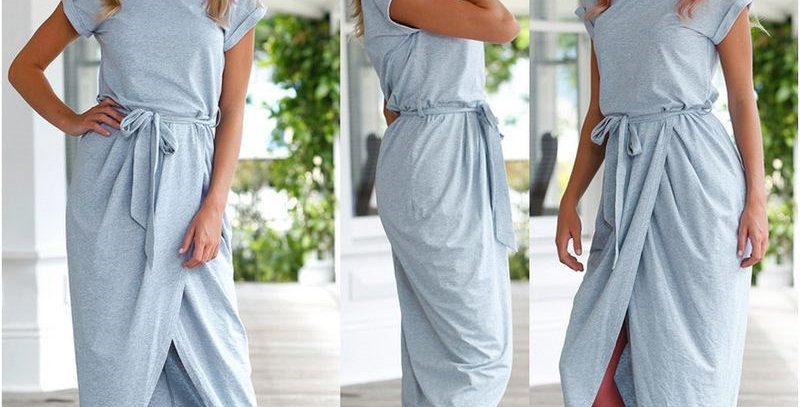Grey Short Sleeve Jersey Cotton Long Dress