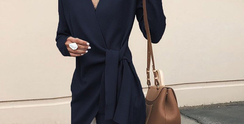 Dark Blue Tie Waist Trench Coat Long Jacket