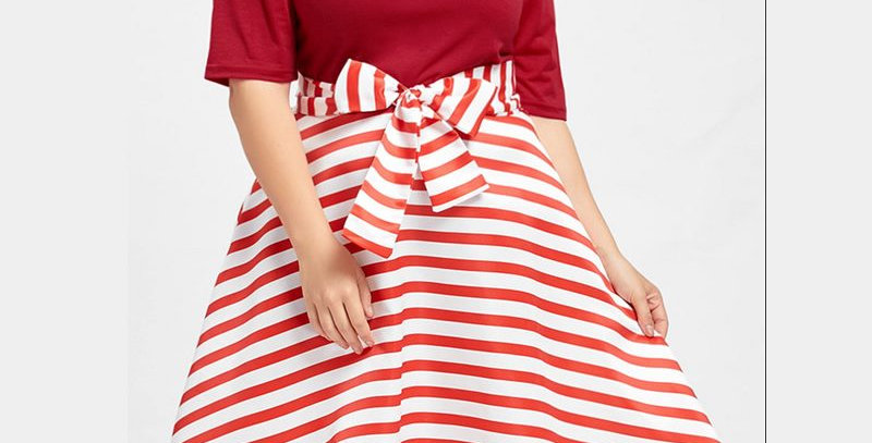 Red Off Shoulder Stain Stripe Boutique Party Dress